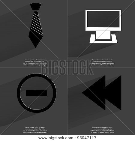 Tie, Monitor, Minus Sign, Two Arrows Media Sign. Symbols With Long Shadow. Flat Design