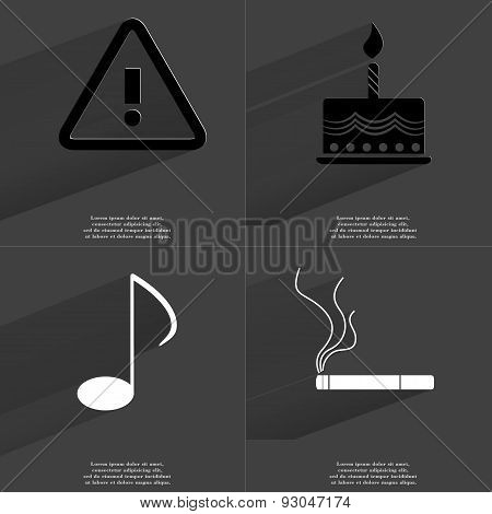 Warning Sign, Cake, Musical Note, Cigarette. Symbols With Long Shadow. Flat Design