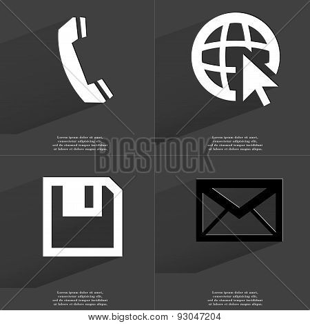 Receiver, Web Icon Cursor, Floppy Disk, Message. Symbols With Long Shadow. Flat Design