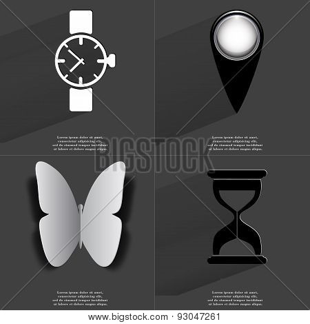 Wrist Watch, Checkpoint, Butterfly, Hourglass. Symbols With Long Shadow. Flat Design