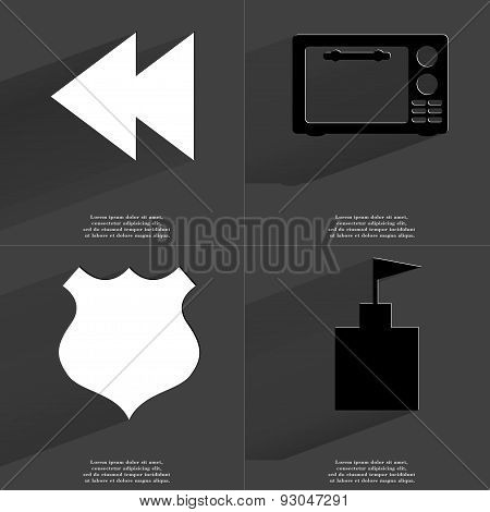 Two Arrows Media Icon, Microwave, Police Badge, Flag Tower. Symbols With Long Shadow. Flat Design