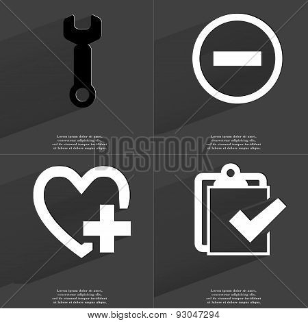 Wrench, Minus Sign, Heart Plus, Task Completed Icon. Symbols With Long Shadow. Flat Design