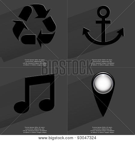Recycling, Anchor, Note Sign, Checkpoint. Symbols With Long Shadow. Flat Design