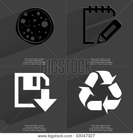 Pizza, Notebook, Floppy Disk Download Icon, Recycling. Symbols With Long Shadow. Flat Design