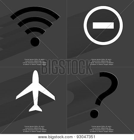 Wlan Icon, Minus Sign, Airplane, Question Mark. Symbols With Long Shadow. Flat Design