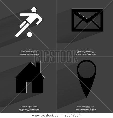 Silhouette Of Football Player, Message, House, Checkpoint. Symbols With Long Shadow. Flat Design
