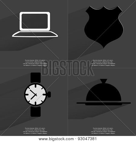 Laptop, Police Badge, Wrist Watch, Tray. Symbols With Long Shadow. Flat Design
