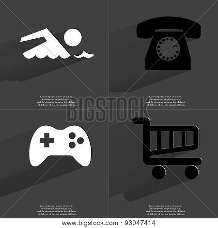 Silhouette Of Swimmer, Retro Phone, Gamepad, Shopping Cart. Symbols With Long Shadow. Flat Design