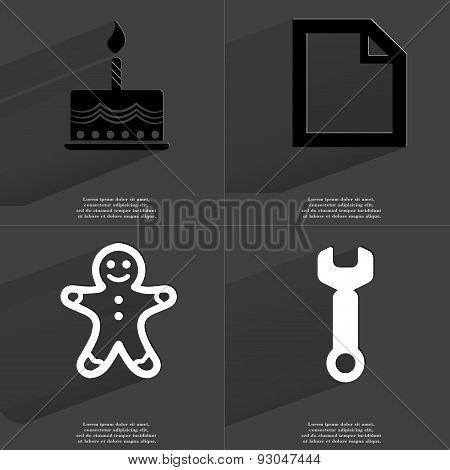 Cake, File Icon, Gingerbread Man, Wrench. Symbols With Long Shadow. Flat Design