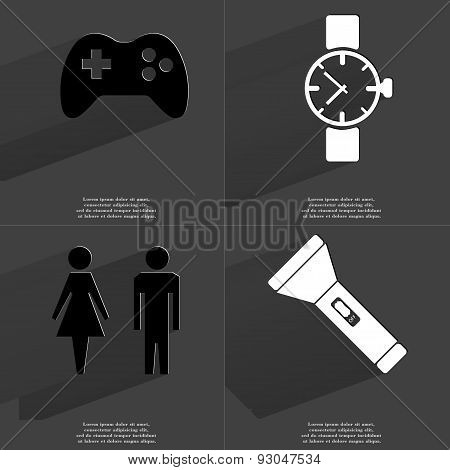 Gamepad, Wrist Watch, Silhouette Of Man And Woman, Flashlight. Symbols With Long Shadow. Flat Design