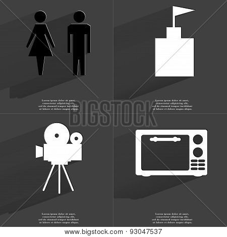 Silhouette Of Man And Woman, Flag Tower,  Film Camera, Microwave. Symbols With Long Shadow. Flat Des