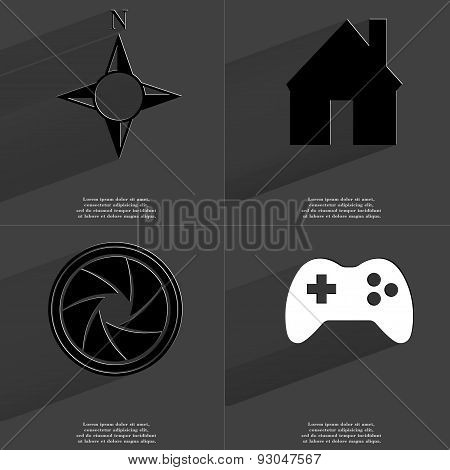 Compass, House, Lens, Gamepad. Symbols With Long Shadow. Flat Design
