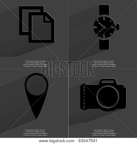 Copy Icon, Wrist Watch, Checkpoint, Camera. Symbols With Long Shadow. Flat Design