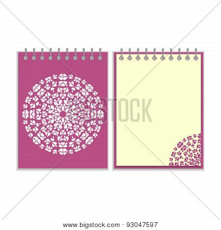 Purple cover notebook with round pattern