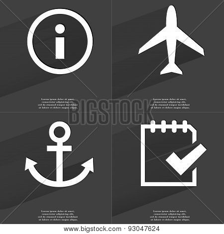 Information Sign, Airplane, Anchor, Task Completed Icon. Symbols With Long Shadow. Flat Design