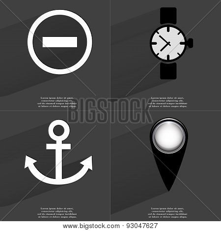 Minus Sign, Wrist Watch, Anchor, Checkpoint. Symbols With Long Shadow. Flat Design