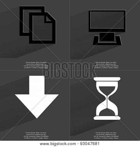 Copy Icon, Monitor, Arrow Directed Down, Hourglass. Symbols With Long Shadow. Flat Design