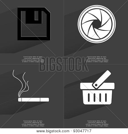 Floppy Disk, Lens, Cigarette, Basket. Symbols With Long Shadow. Flat Design