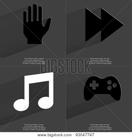 Hand, Two Arrows Media Icon, Note Sign, Gamepad. Symbols With Long Shadow. Flat Design