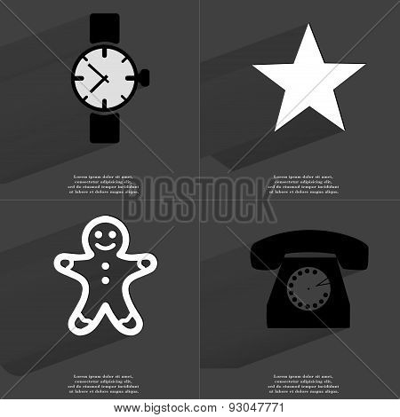 Wrist Watch, Star, Gingerbread Man, Retro Phone. Symbols With Long Shadow. Flat Design