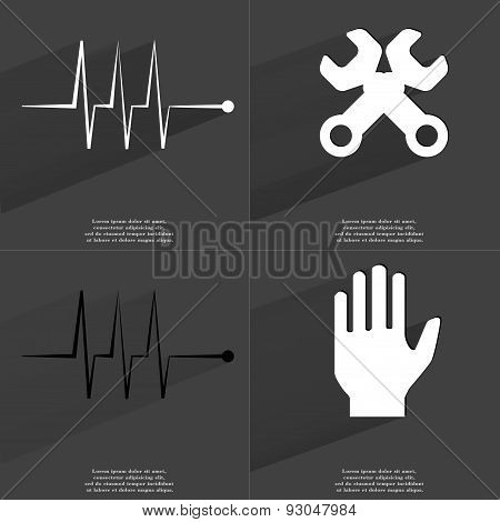 Pulse, Wrenches, Hand. Symbols With Long Shadow. Flat Design