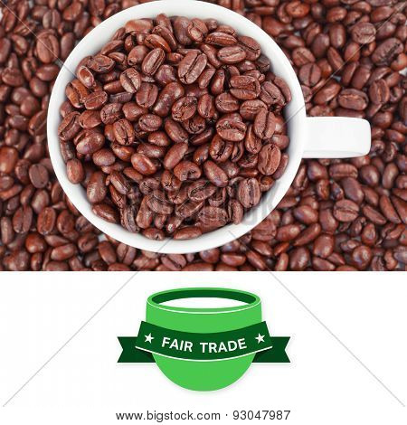 Fair Trade graphic against small white cup full of coffee beans