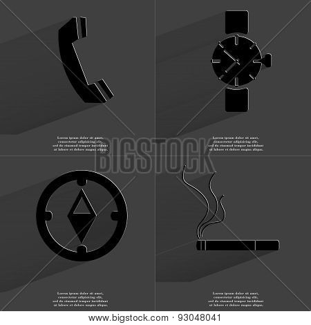 Receiver, Wrist Watch, Compass, Cigarette. Symbols With Long Shadow. Flat Design