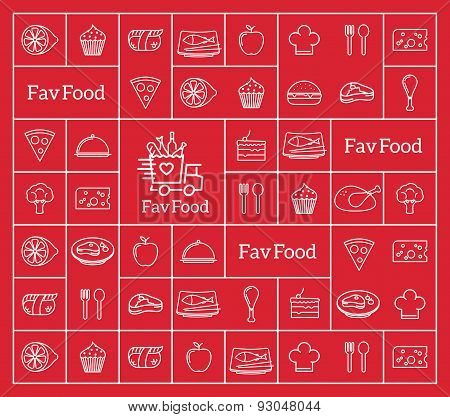 Favorite Food Delivery Abstract Vector Logo Integrated Into the Line Style Icon Pattern.