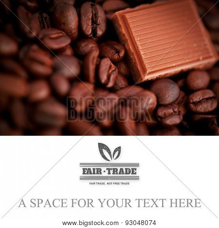 fair trade stamp against piece of chocolate and coffee seeds together