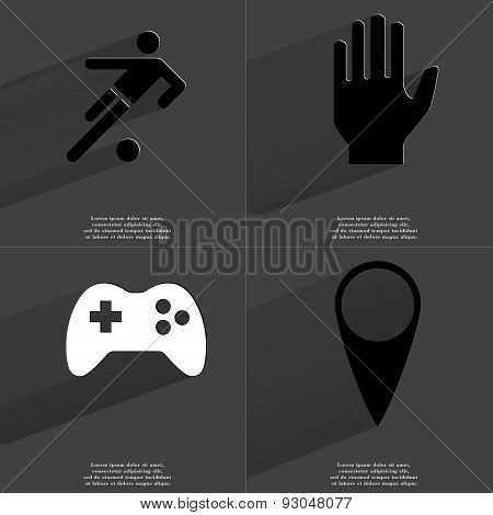 Silhouette Of Football Player, Hand, Gamepad, Checkpoint. Symbols With Long Shadow. Flat Design