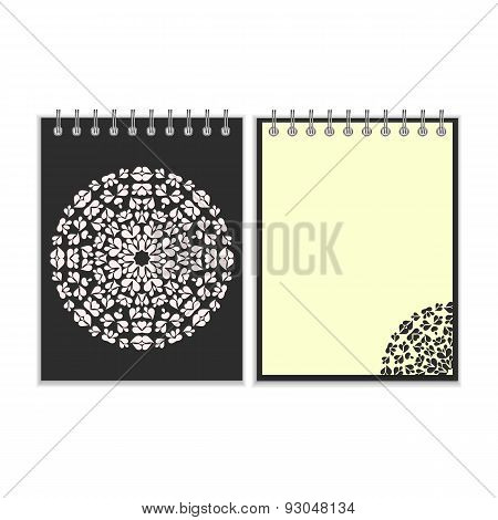 Black cover notebook with round pattern