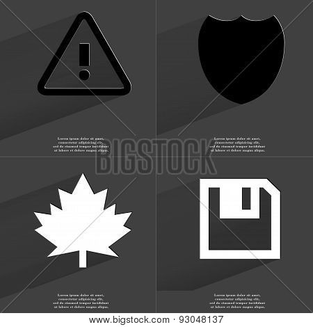 Warning Sign, Badge, Maple Leaf, Floppy Disk. Symbols With Long Shadow. Flat Design