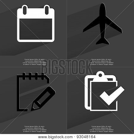 Calendar, Airplane, Tasklist, Task Completed Icon. Symbols With Long Shadow. Flat Design