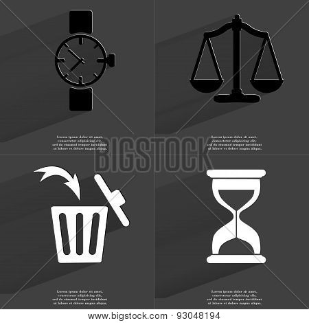 Wrist Watch, Scales, Trash Can, Hourglass. Symbols With Long Shadow. Flat Design