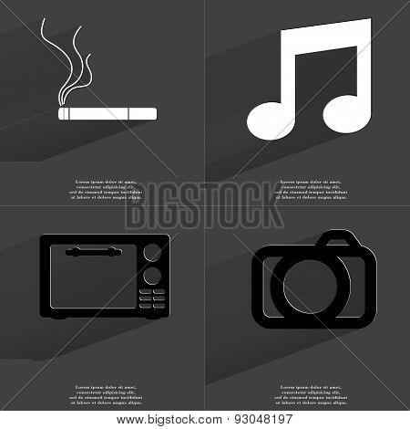 Cigarette, Note Sign, Microwave, Camera. Symbols With Long Shadow. Flat Design
