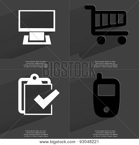 Monitor, Shopping Cart, Task Completed Icon, Mobile Phone. Symbols With Long Shadow. Flat Design