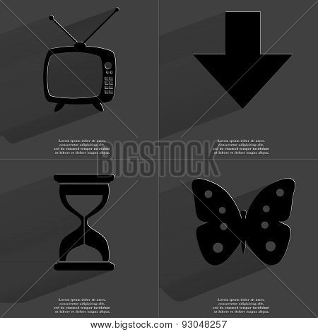 Retro Tv, Arrow Directed Down, Hourglass, Butterfly. Symbols With Long Shadow. Flat Design