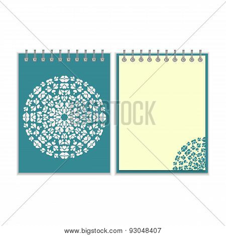 Blue cover notebook with round pattern