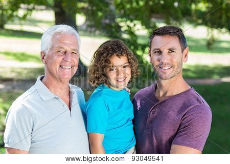 Extended family smiling in the park on a sunny day