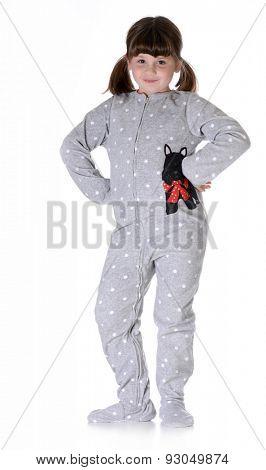 child wearing pajamas on white background