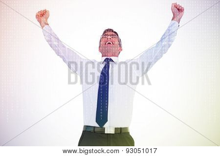 Excited businessman with glasses cheering against digitally generated server room with towers
