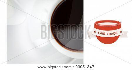 Fair Trade graphic against espresso