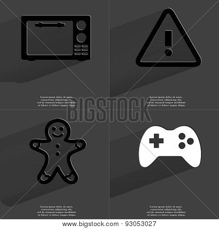 Microwave, Information Sign, Gingerbread Man, Gamepad. Symbols With Long Shadow. Flat Design