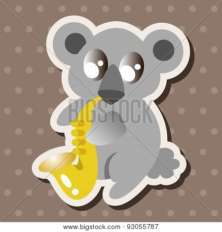 Animal Koala Playing Instrument Cartoon Theme Elements
