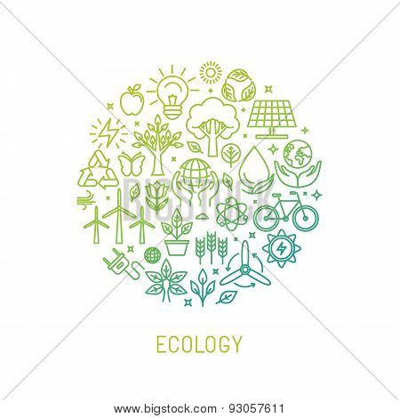 Vector Ecology Illustration With Icons