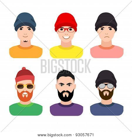 flat cartoon hipster character set, vector illustration