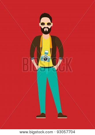 Hipster Photographer, journalist flat character  with the camera.