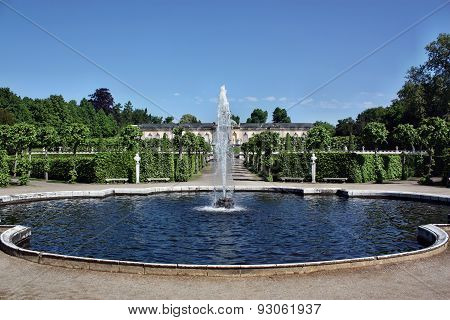 The Fountain In The Background Of The Palace Bildergalerie