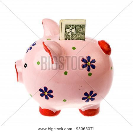piggy bank with dollar banknote