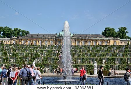 Tourists In Sanssouci Park